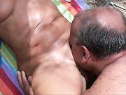 Personne âgée, couple, fait, sexe, plage