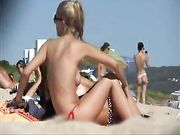 Jeune, girl, topless, plage